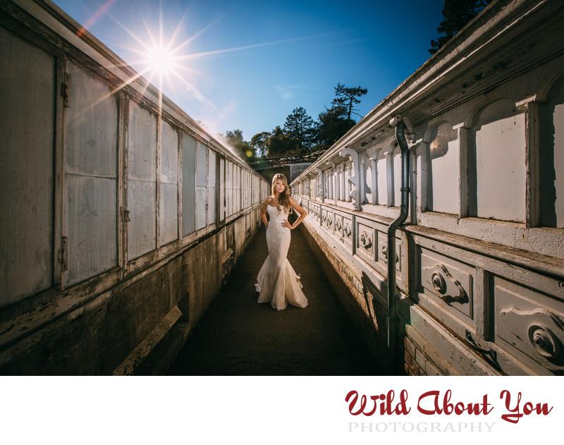 dramatic golden gate park wedding photography