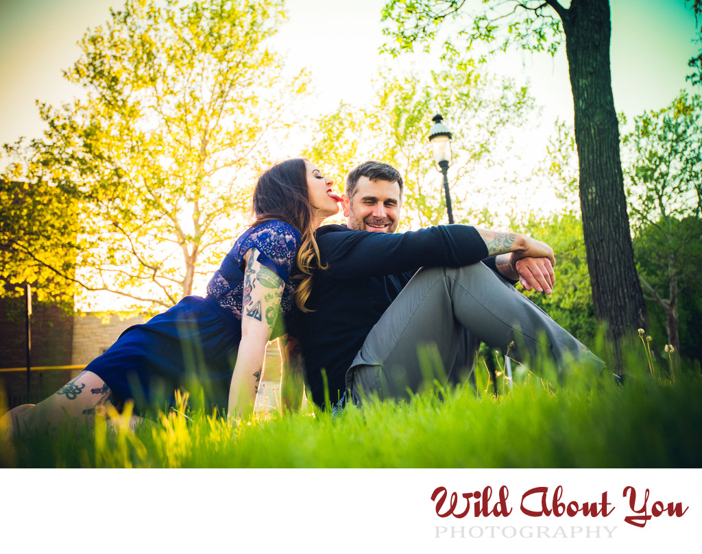 fun chicago engagement photography