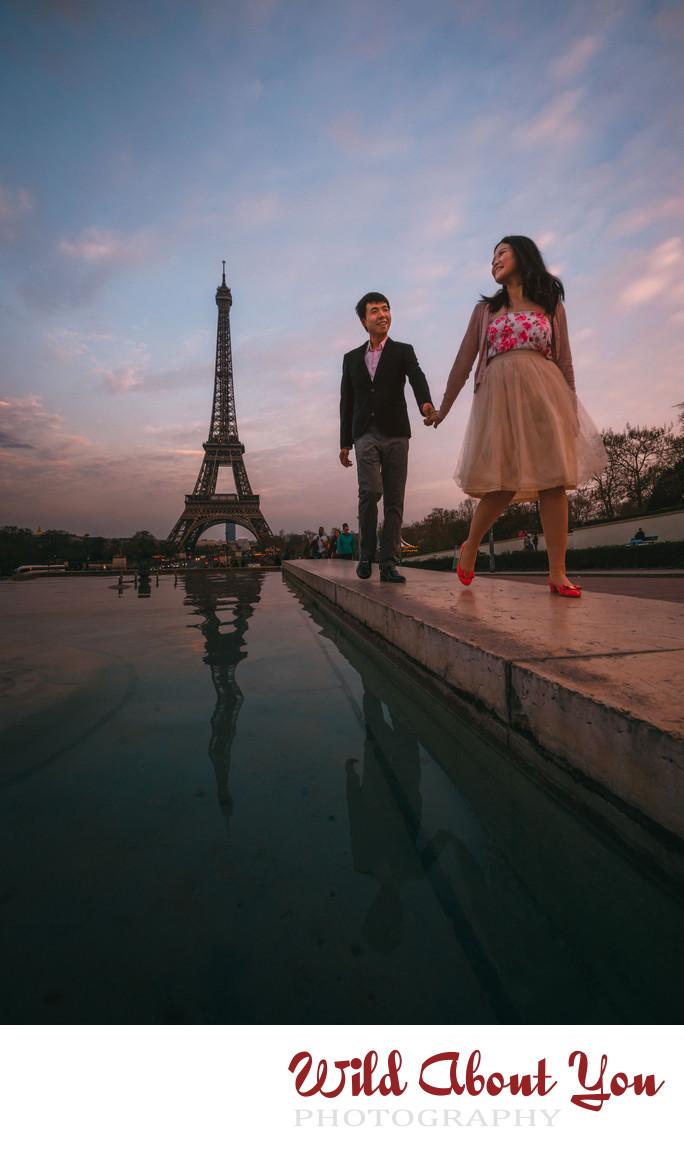 fun paris engagement photography