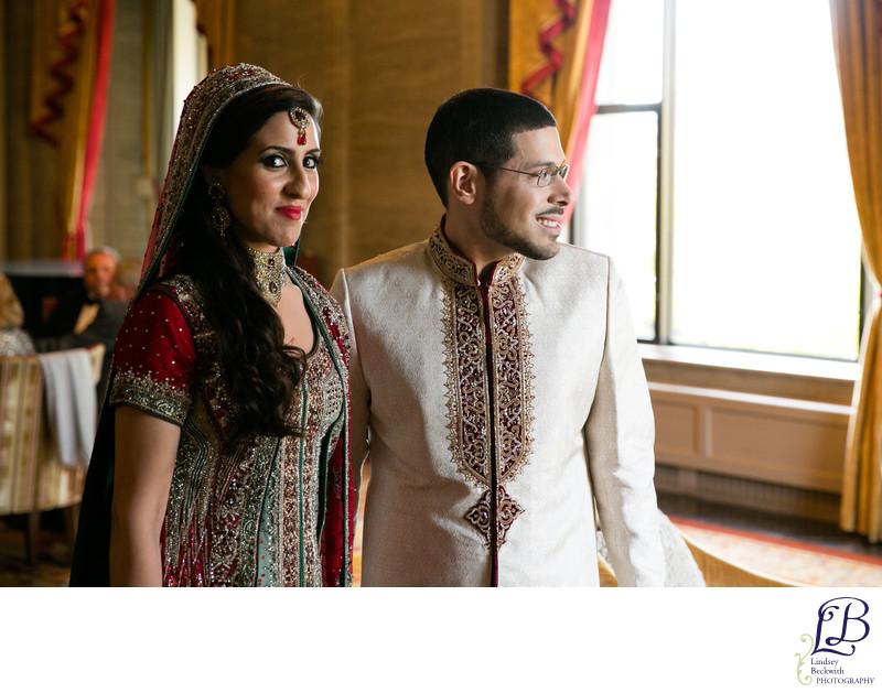 Muslim bride smiling in