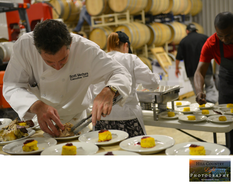 Chef Catered dinner served in Winery at William Chris Vineyards