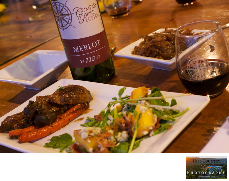 Bottle of Compass Rose Cellars Merlot Food Wine Dinner