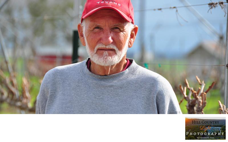 Portrait of John Dale Vineyard owner in Brenham Texas