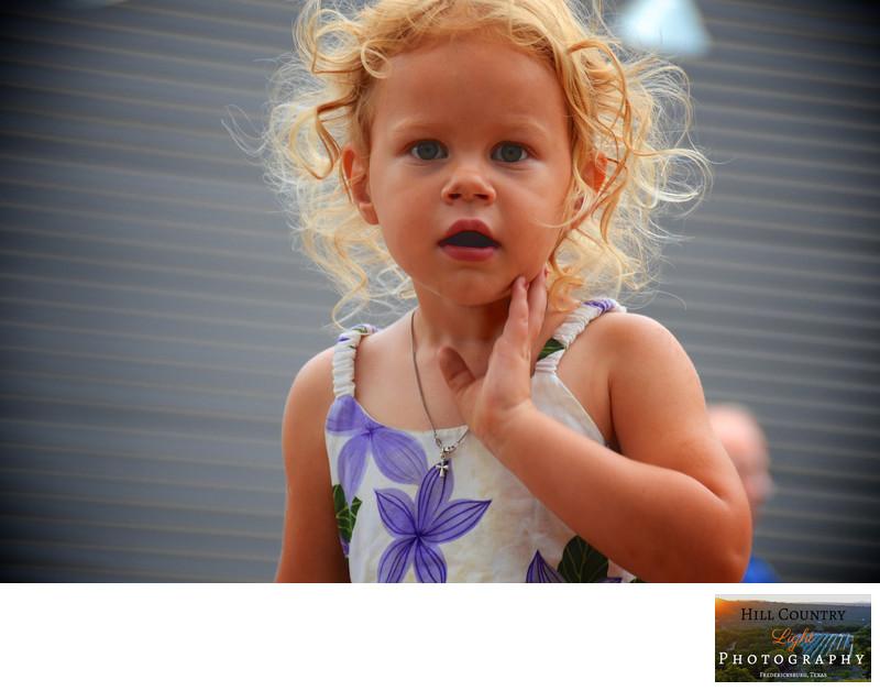 Child portrait blonde curly hair