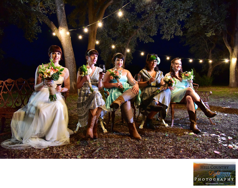 Bridal party under the lights at William Chris