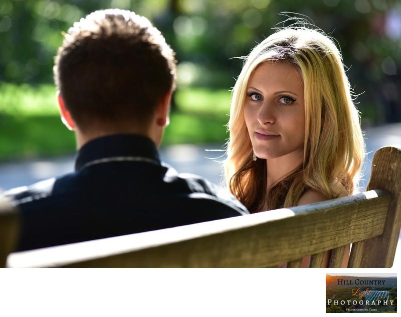 Beautiful blonde bridal portrait head shot in the park