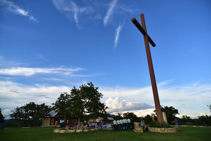 Cloud crosses atop Happy H Ranch Wedding Comfort Texas