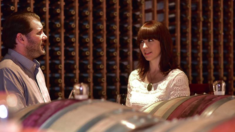 Engagement Portrait Wine Cellar Becker Vineyards Texas