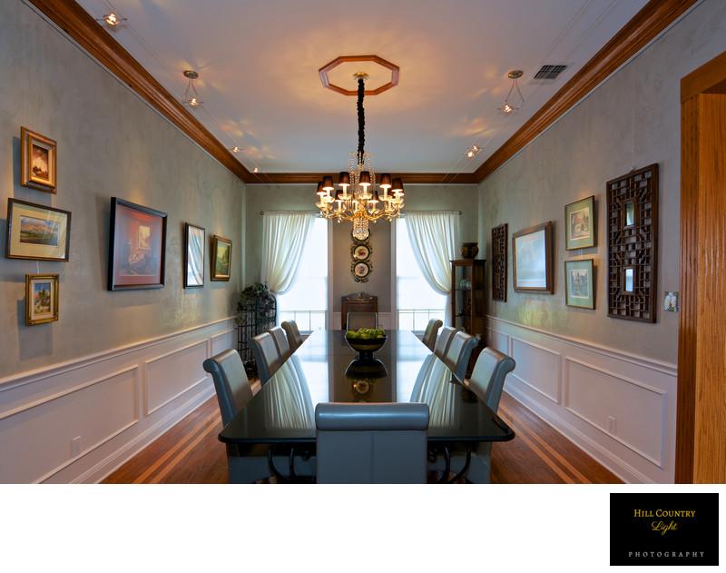 Venetian Plaster walled dining room Estate home Fredericksburg Texas
