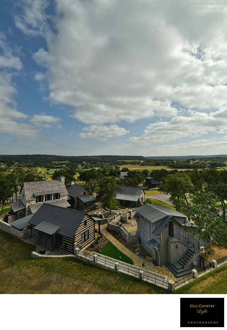 Aerial view of Waldrip Cabin Sunday House at Boot Ranch