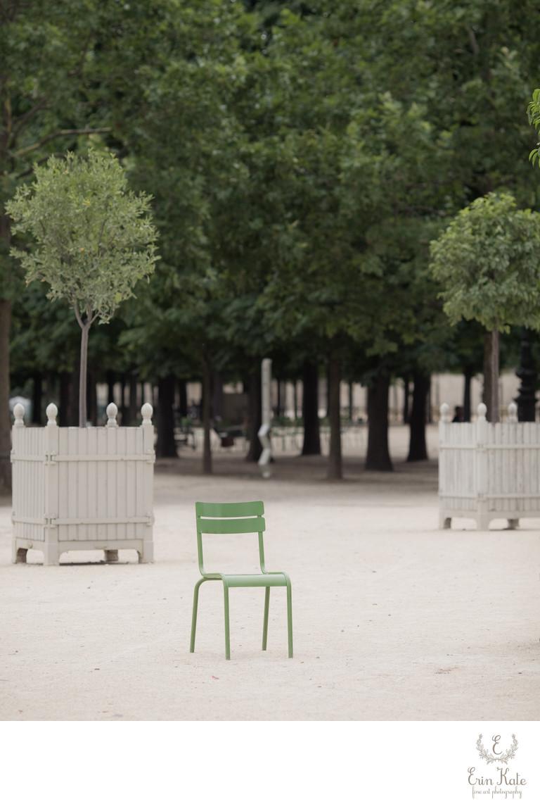 green chair Paris garden