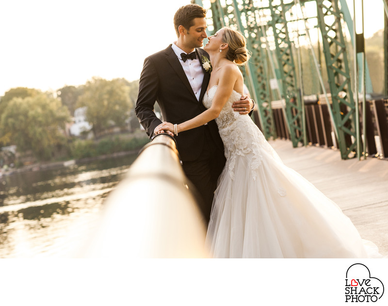 Lambertville Inn Wedding Bride & Groom on Bridge