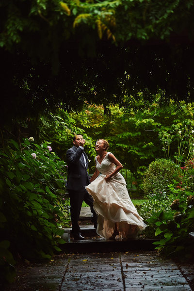 Bride and Groom Portrait at the Garden