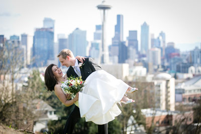 Kerry Park Seattle Wedding Photography Bride and Groom