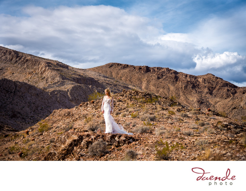 Bride in the desert in Las Vegas