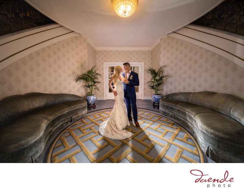 Bride and Groom in beautiful light Fairmont Hotel, San Francisco