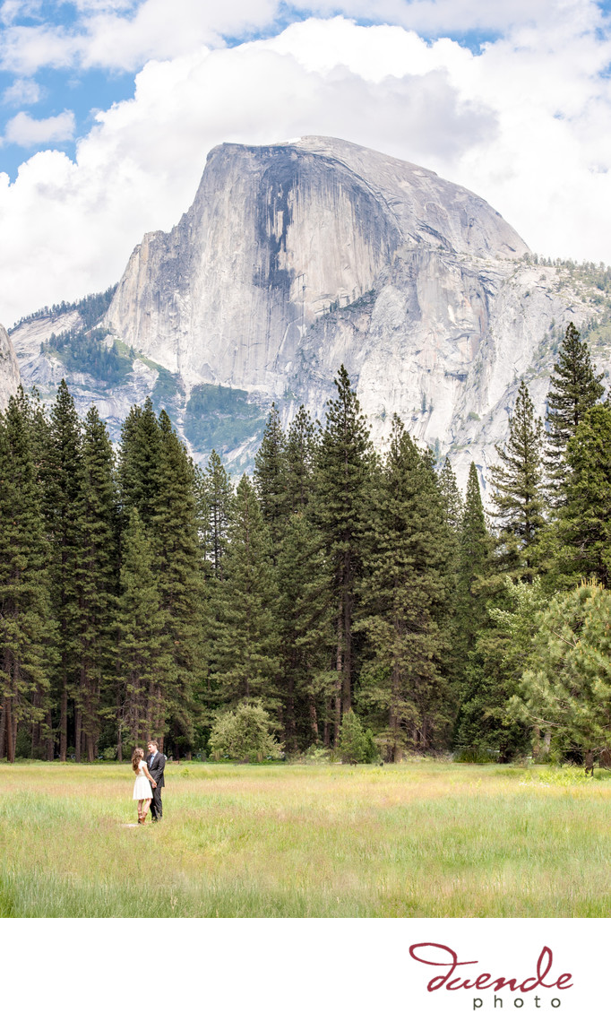Bride and Groome under half dome