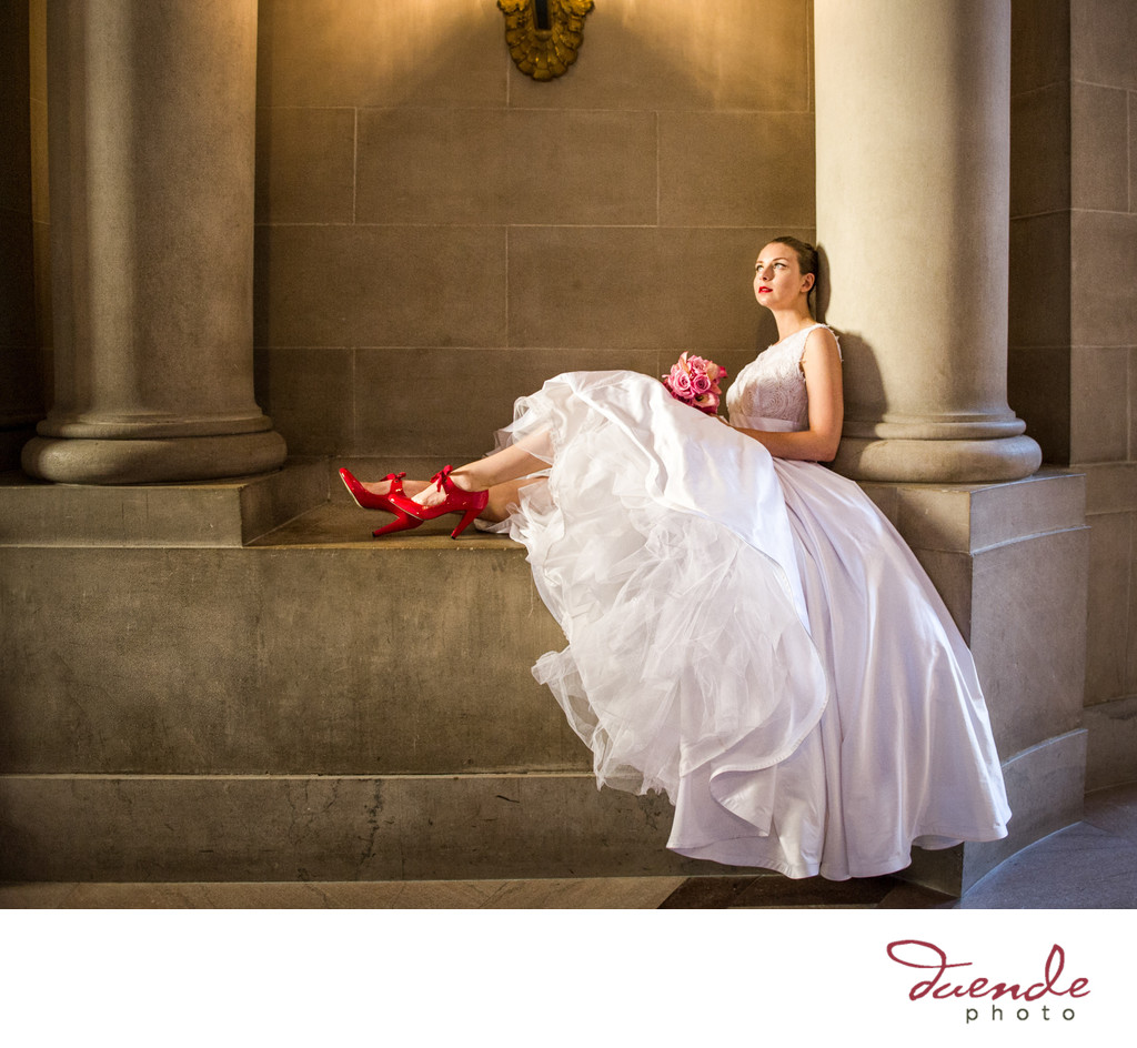 Bride in red shoes San Francisco City Hall