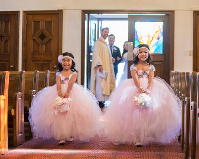 flower girls smiling