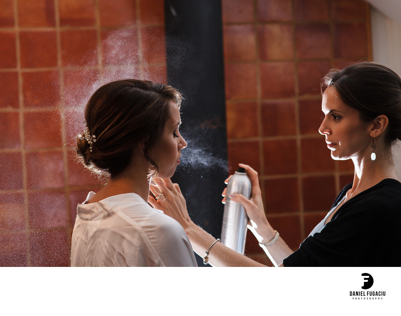 Hair spray for bride makeup and hair