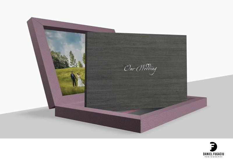 Purple leather wedding album made in Italy