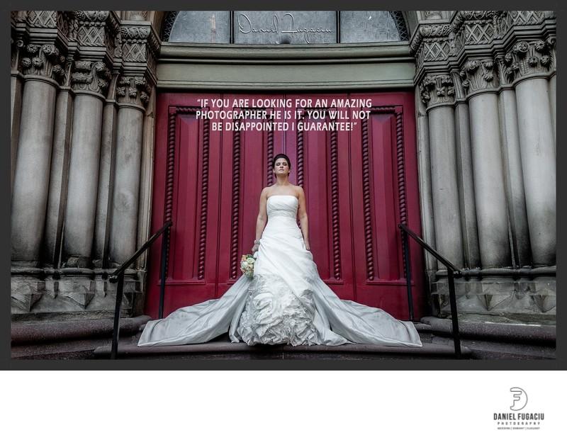 Portrait of bride by church door