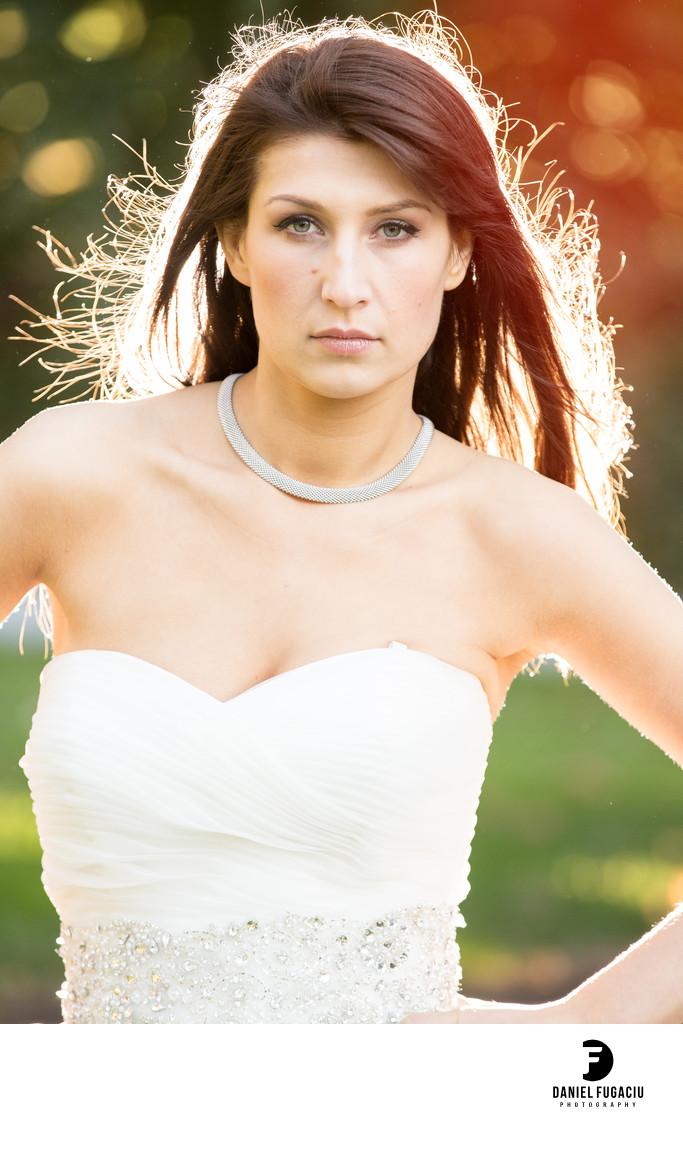 Bride sunlight portrait