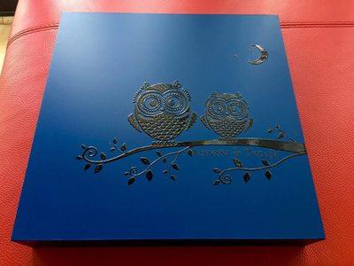 Blue engraved wedding album box