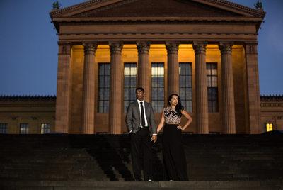 Evening engagement fashion portrait at Art Museum