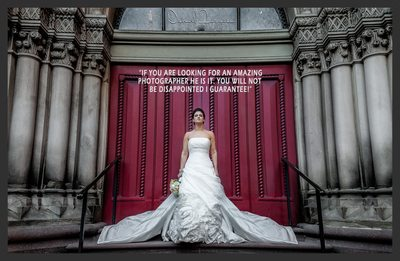 Portrait of bride by church door