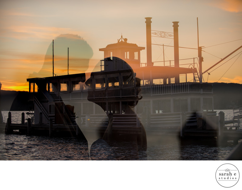 Double Exposure in Camera of Bride and Groom at Sunset on Pier