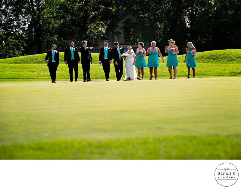 Wedding Party on Golf Course at Westborough Country Club