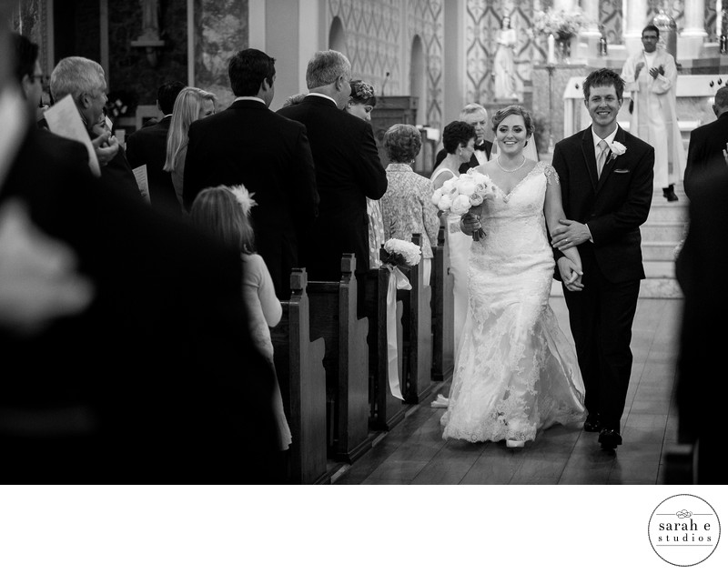 Recessional Walk at St. Ambrose Wedding Ceremony