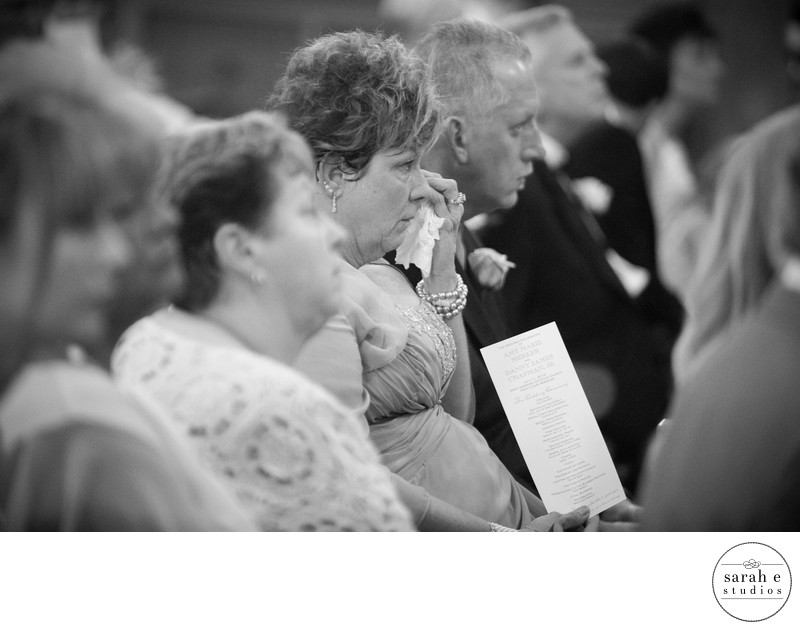 Emotional Mom during St. Ambrose Chruch Ceremony in St. Louis