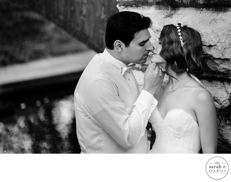 Park Kiss for Bride and Groom in St. Louis Wedding Portraits