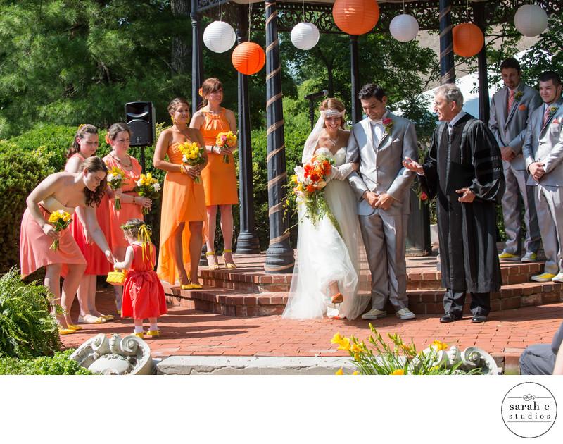 Orange Bridesmaid Dresses in St. Louis Wedding