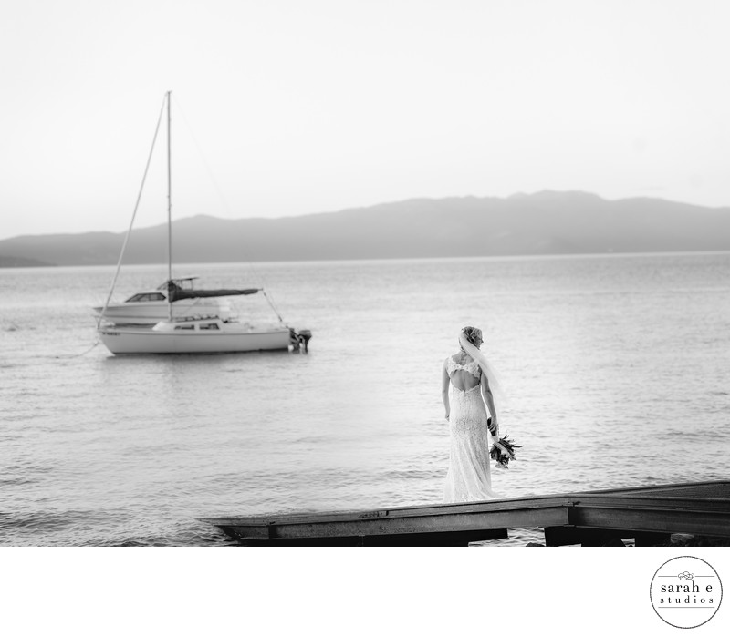 Bride on Lake with Boat