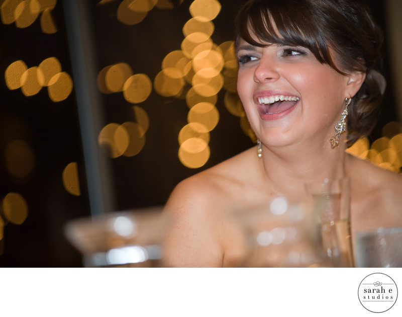 Bride with Bokeh during Reception in Chicago