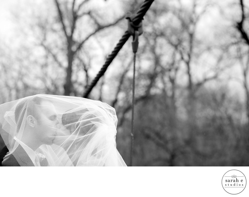 Bride and Groom under Veil in St. Louis Wedding