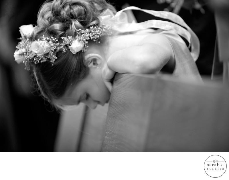 Bored Flower Girl at Wedding