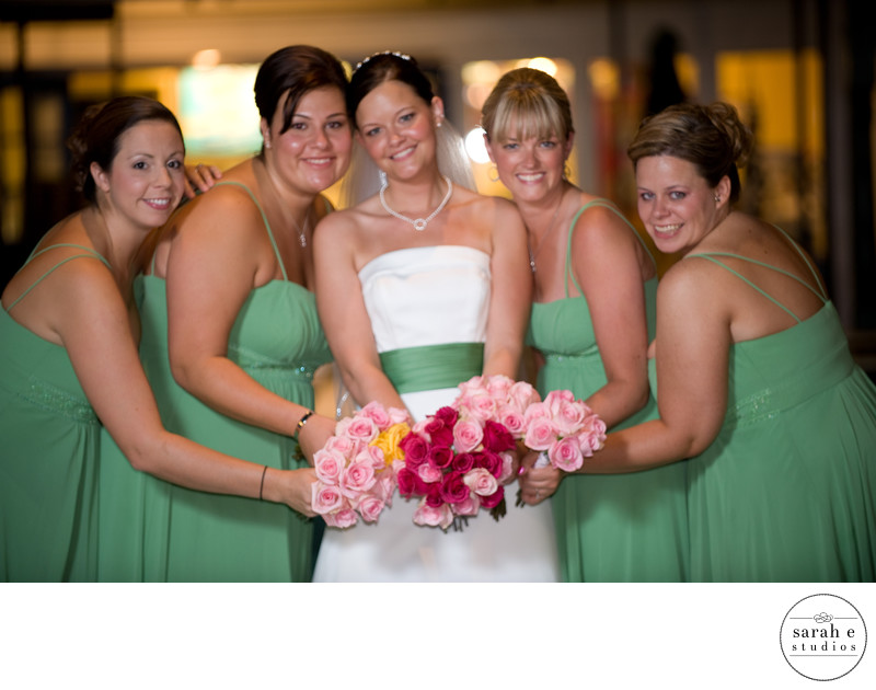 Bridal Party Girls in Formal Portrait with Flowers