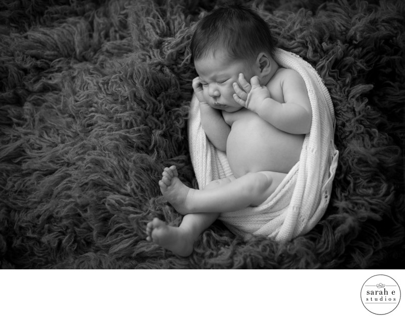 Newborn Portrait on Flokati Rug in St. Louis