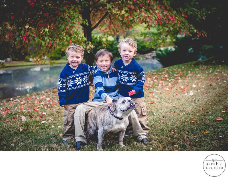 Family Photo with Dog at Twin Oaks Park
