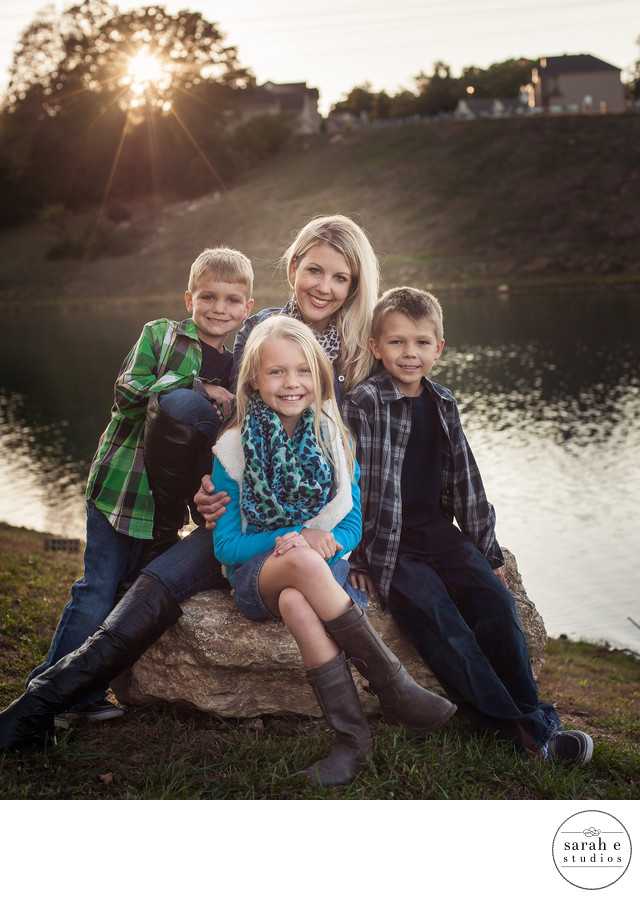 Backlight Family Photo at Lake in High Ridge, MO