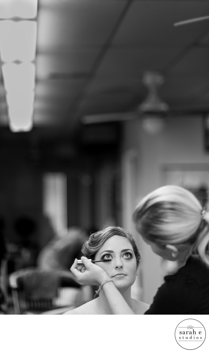 Bride Getting Eye Makeup in Des Peres