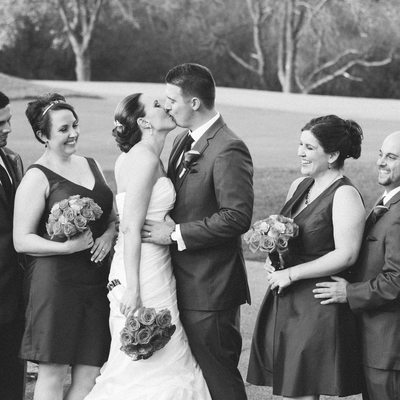 Bridal Party Cheering on Married Couple in St. Louis Wedding