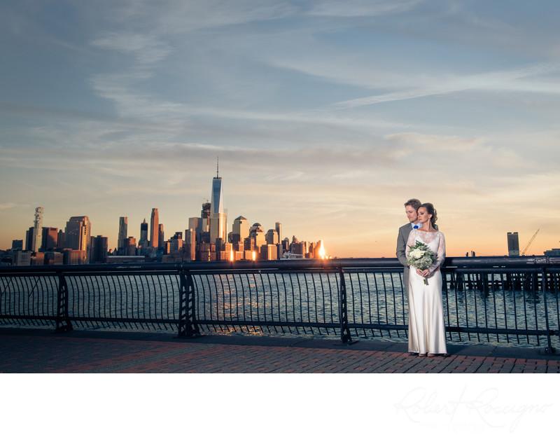 Hoboken new jersey wedding NYC skyline sunset