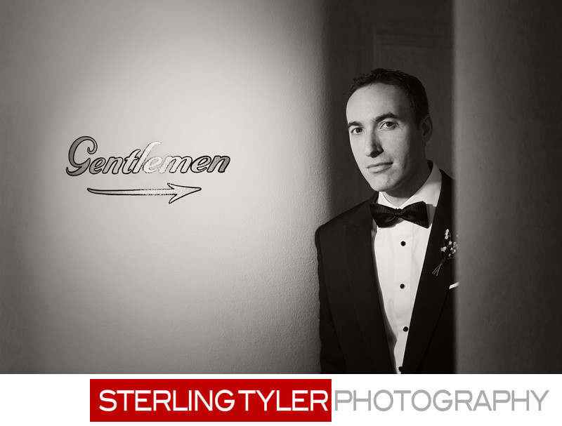the perfect gentlemen black and white wedding portrait