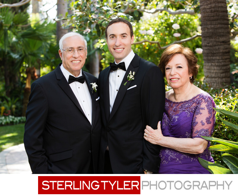 groom with parents family portrait la wedding photographer