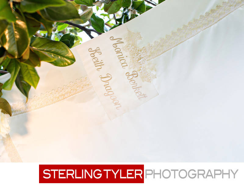 custom personalized chuppa detailing at beverly hills hotel